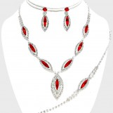 MARQUISE RHINESTONE NECKLACE JEWELRY SET