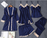 Silk with Lace 5 piece Pajamas Set