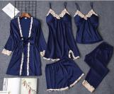 Silk with Lace 5 piece Pajamas Set