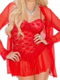Red Lace Chemise Set