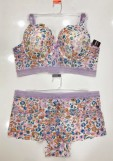 Plus Size Floral Print Long Line Underwire Bra and Boy Short Set