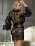 Black Lace Eyelash Sleepwear Robe