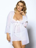 White Mesh Bell Sleeve Robe and Babydoll Set