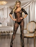 Black Fishnet & Lace Crotchless Floral Bodystockings