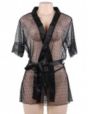 Black Dotted Mesh and Lace Robe