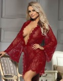 Wine Red Delicate Lace Sleepwear Gown