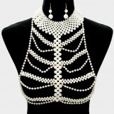 Pearl Strand Body Chain with earrings