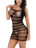 Black Seamless Fishnet Midi Babydoll