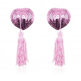 Pink Heart Shaped Nipple Pasties with Sequins and Tassels Stick on boobs Nipple cover