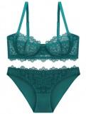 Green Push Up Lace Underwire Bra Set