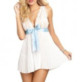 White Deep V Pleat and Split Back Babydoll