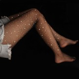 Black Rhinestone Fishnet Pantyhose