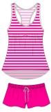 Rayon jersey racerback sleepshort set (Pink)