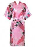 Floral Print Kimono Short Sleeve Satin Robes