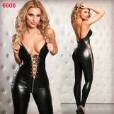 Faux Leather Front Open Sexy One Piece Bodysuit