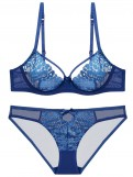 Blue Embroidery Bras Set Lace Bra and Panties Set