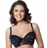 Parfait Casey Black with Rose Print Full-Figure Bra