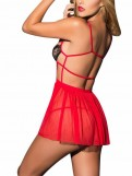 Red Open Cup Strappy Lingerie Lace Babydoll