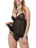 Strappy High Neckline Lace Babydoll