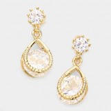 CLAMPED CRYSTAL BRASS EARRINGS