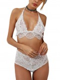 Transparent White Lace Halter Bra Set