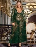 Green Delicate Lace Long Sleepwear Gown