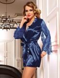 Blue Satin Lace Sexy Kimono  Pajamas