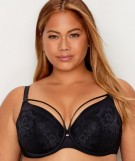 Curvy Couture Innovation Tulip Strappy Lace Push Up Bra BLACK
