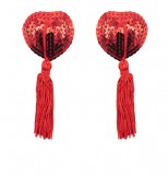 Red Heart Shaped Nipple Pasties with Sequins and Tassels