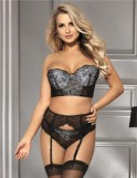 3 Piece Seductive Black Delicate Lace Bra Garter Set
