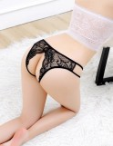 Black Lace Crotchless Panty