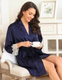 Dark Blue Silk Two-piece Pajamas set