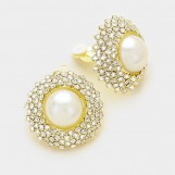 CRYSTAL PEARL CLIP ON EARRINGS