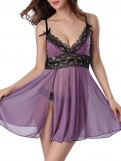 Mauve Bling Sheer Lace Babydoll