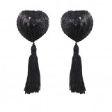 Black Heart Shaped Nipple Pasties with Sequins and Tassels