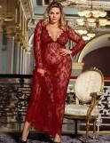 Wine Red Delicate Lace Long Sleepwear Gown