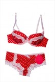 White and red love bra set